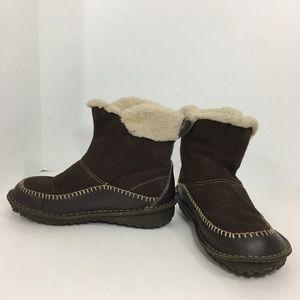 Sorel anyu brown suede short winter boots 8